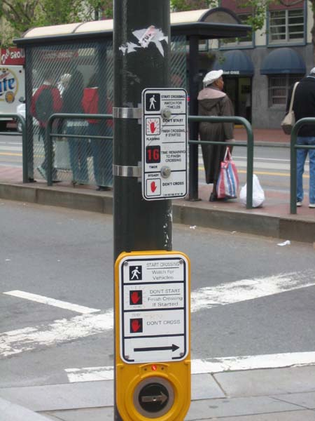 Busy intersections benefit from pedestrian controlled buttons and assist blind persons to cross through sound and vibration signals