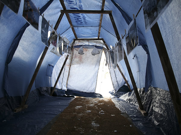 The interior of a standard issue UNHCR tent. Many families live in tents like these for years. Photo by Christopher Herring.